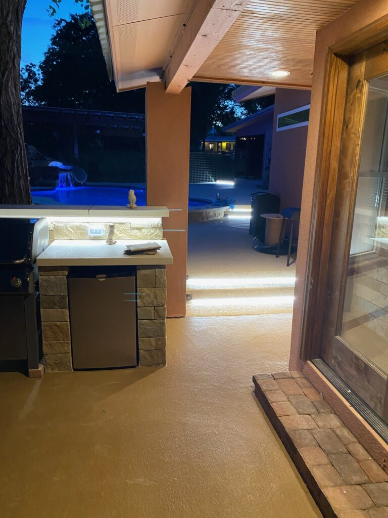 Outdoor LED Lights on bar and steps.