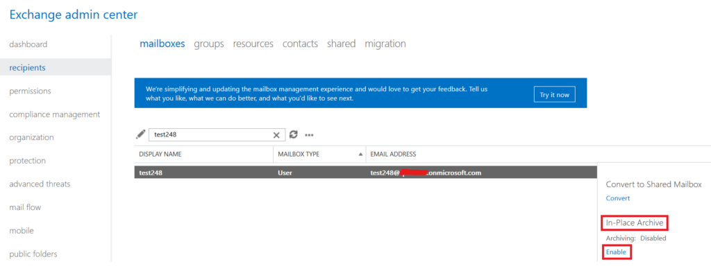 Online archive Office 365
