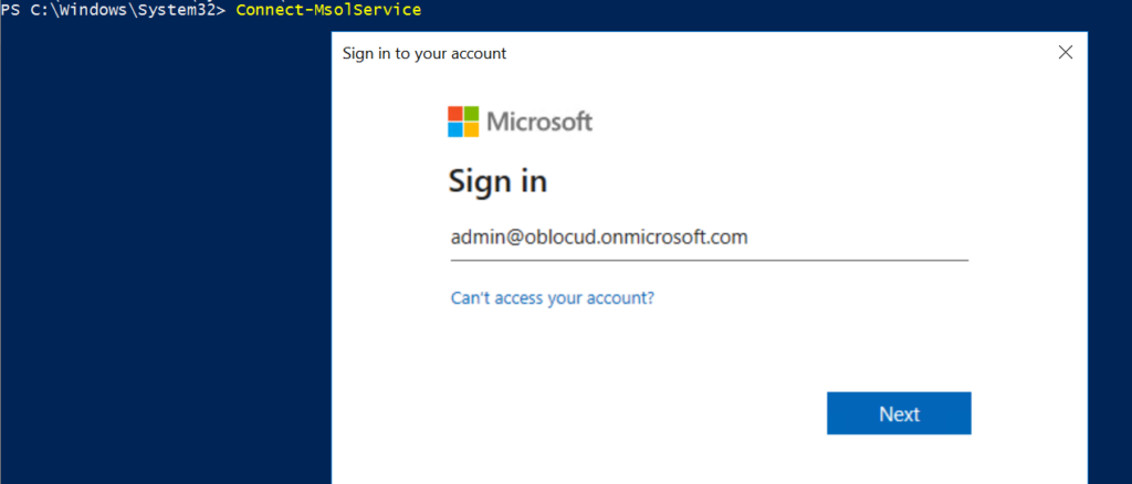 connect to azure ad powershell