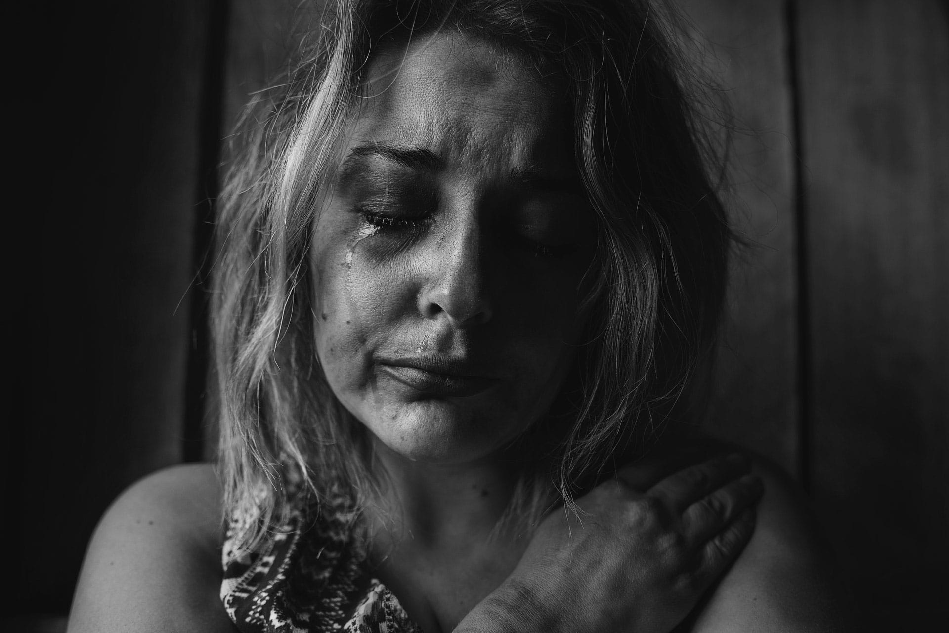 woman distraught crying