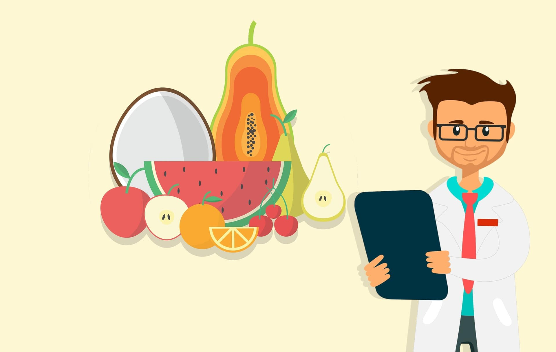 graphic showing group of fruits and doctor holding clipboard