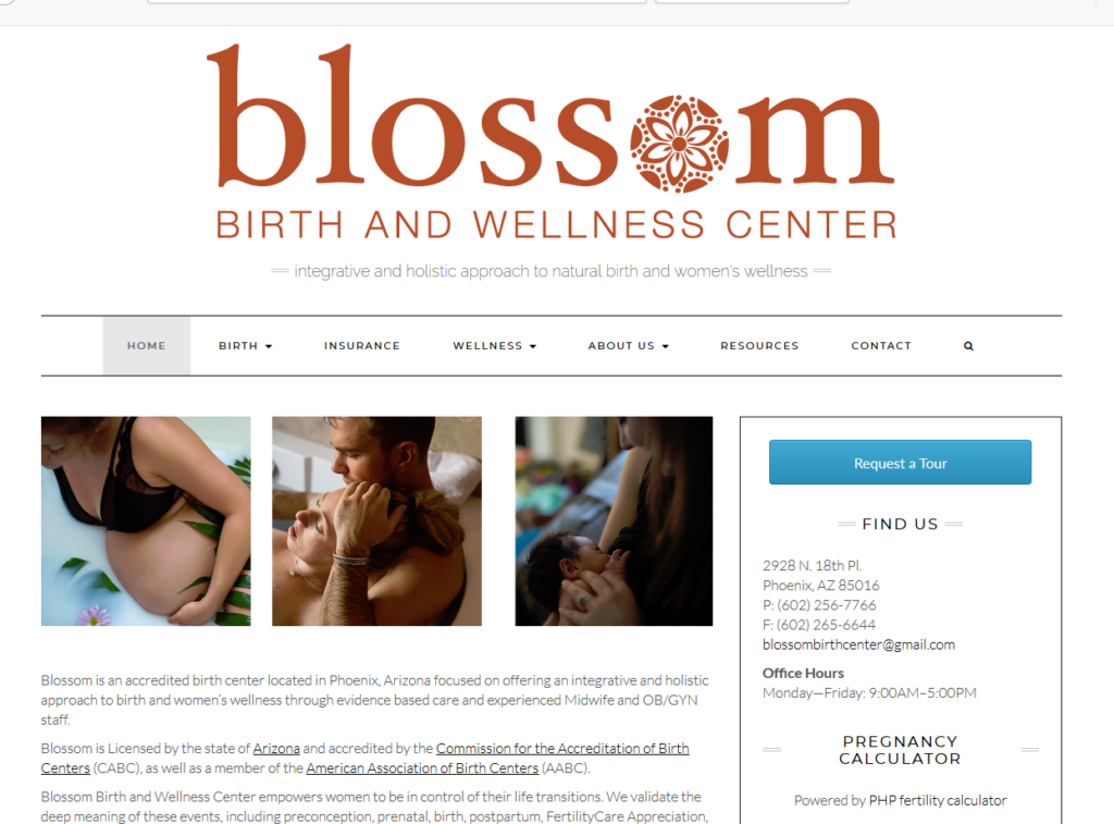 Blossom Birth and Wellness Center Portfolio Project James Wieland Front End Dev