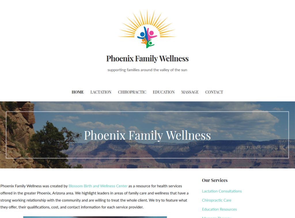 Phoenix Family Wellness Portfolio Project James Wieland Front End Dev