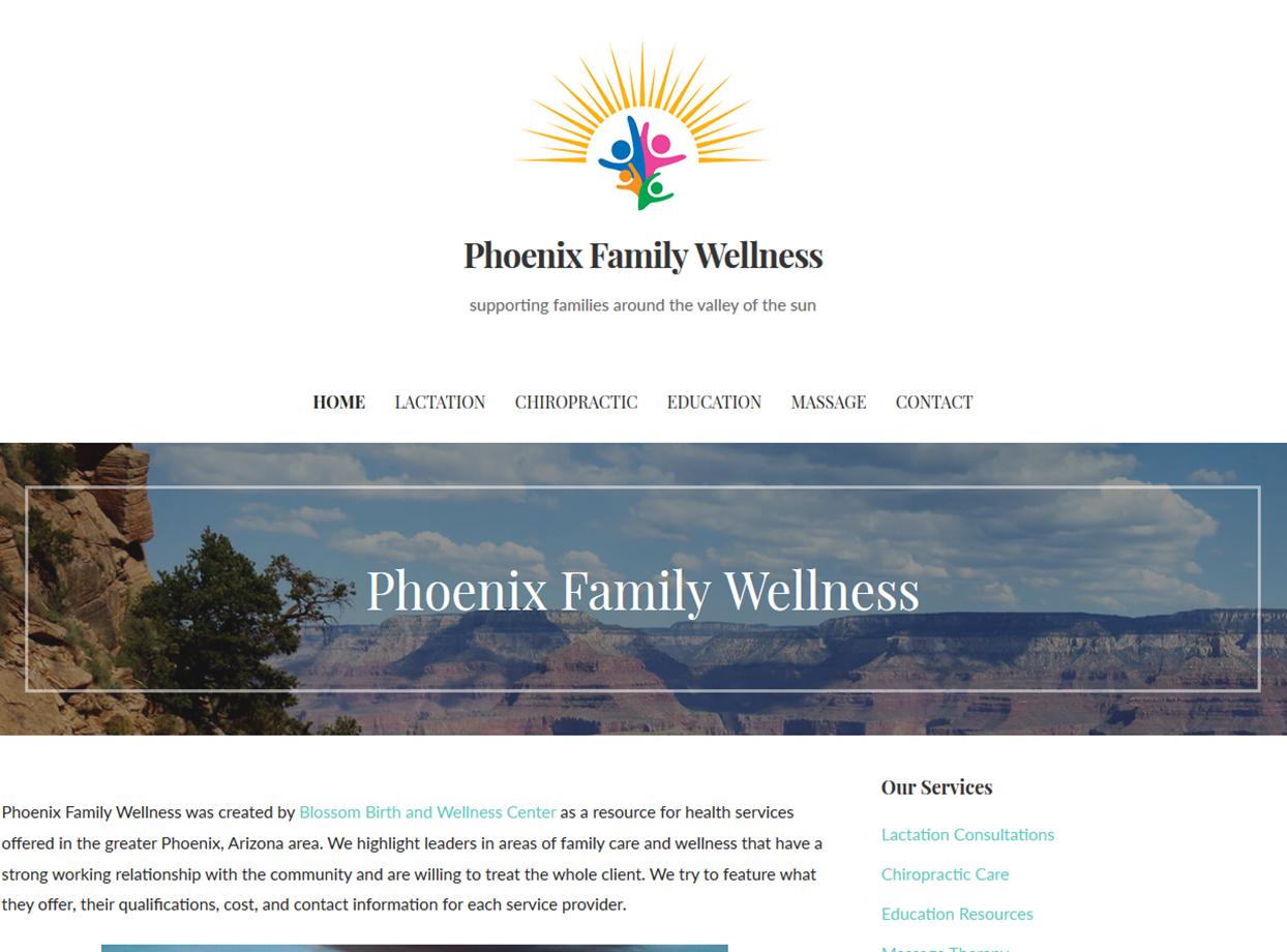 Phoenix Family Wellness Portfolio Project James Wieland Front End Dev