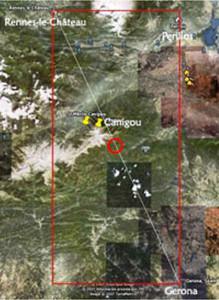 Map of Renne-Canigou-Girona alignment Image by Corjan de Raaf, www.rlcresearch.com