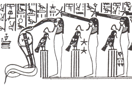 Initiates receiving the transmissions from Venus, Tutankamun Shrine from Heaven's Mirror by Graham Hancock