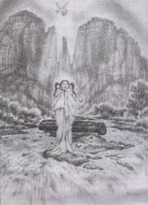 Komwidapokuwia Emerging - Yavapai Creatress (Drawing by Vera Louise Drysdale)