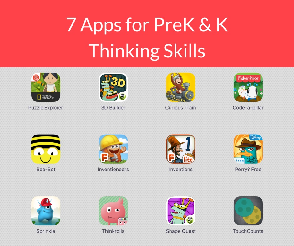 7 Apps to teach preschooler and kindergartens spatial reasoning, problem-solving and other higher-order thinking skills.