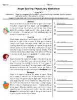 Anger Spelling Grade 5-6