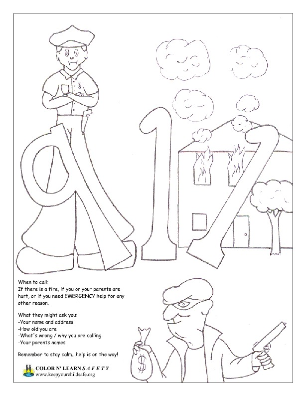 Stranger Safety Coloring Sheets | 792x612