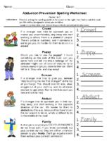 Stranger Danger Spelling Grade-1-2
