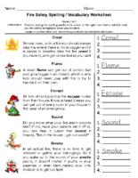 Fire Safety Spelling Grade-1-2