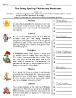 Fire Safety Spelling Grade-3-4