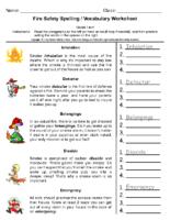 Fire Safety Spelling Grade 5-6