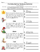 Fire Safety Spellingt Pre-K to Kindergarten