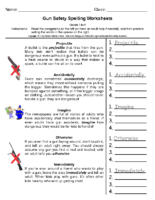 Gun Safety Spellilng Grade 5-6