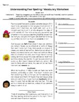 Understanding Fear Spelling Grade 5-6