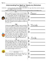 Understanding Fear Spelling Pre-K to Kindergarten