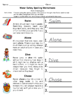 Water Safety Spelling Pre-K-kindergarten