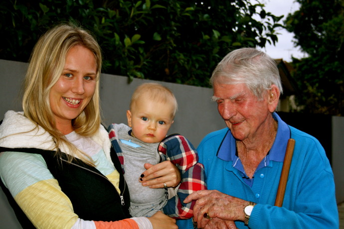 Love thy neighbour - Bill with his youngest Vautier Street fan, Alfie Cornall and his mum, Katie Brown.