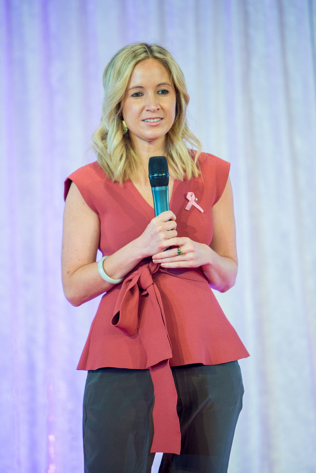 Zara delivers the keynote speech in front of 850 guests at Victorian Events Committee's 12th annual Pink Ribbon breakfast at Flemington Racecourse