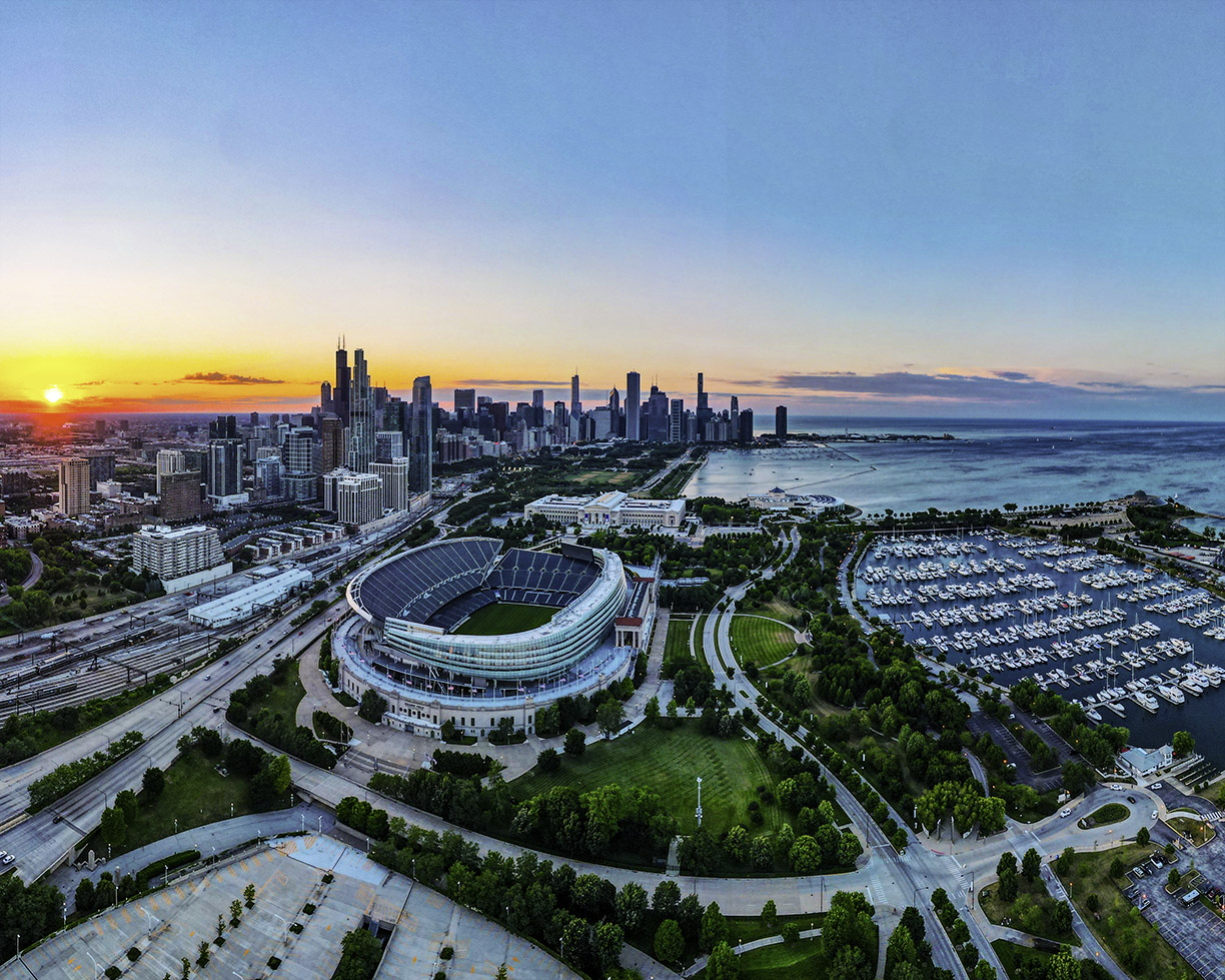 Sunset Aerial View of Soldier Field @Carson Cloud