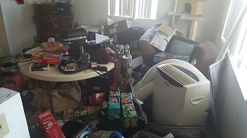living room full of junk