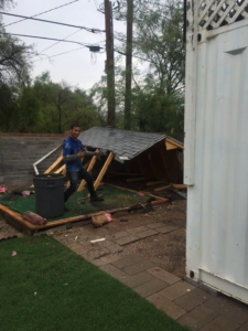 The frame of the shed removal
