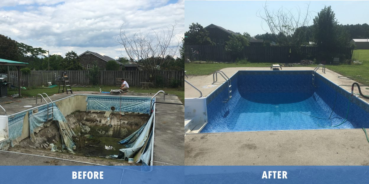 Pool Repair with liner Service before after @ Maritime pools