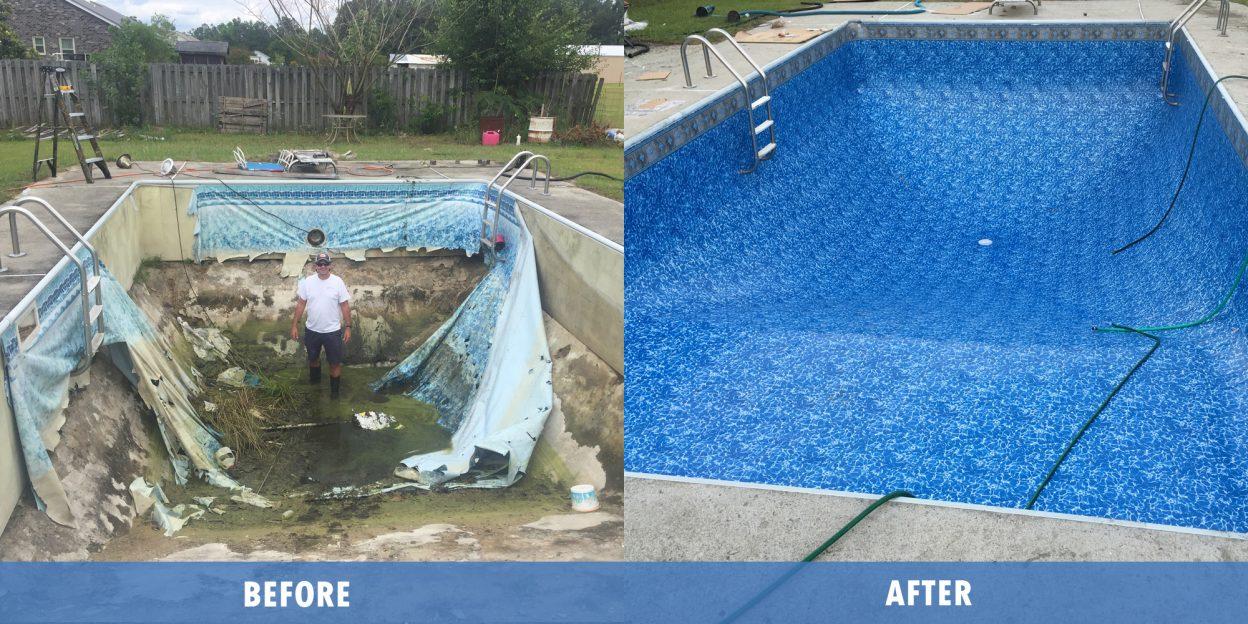 Pool Repair liner renovation before after @ Maritime pools