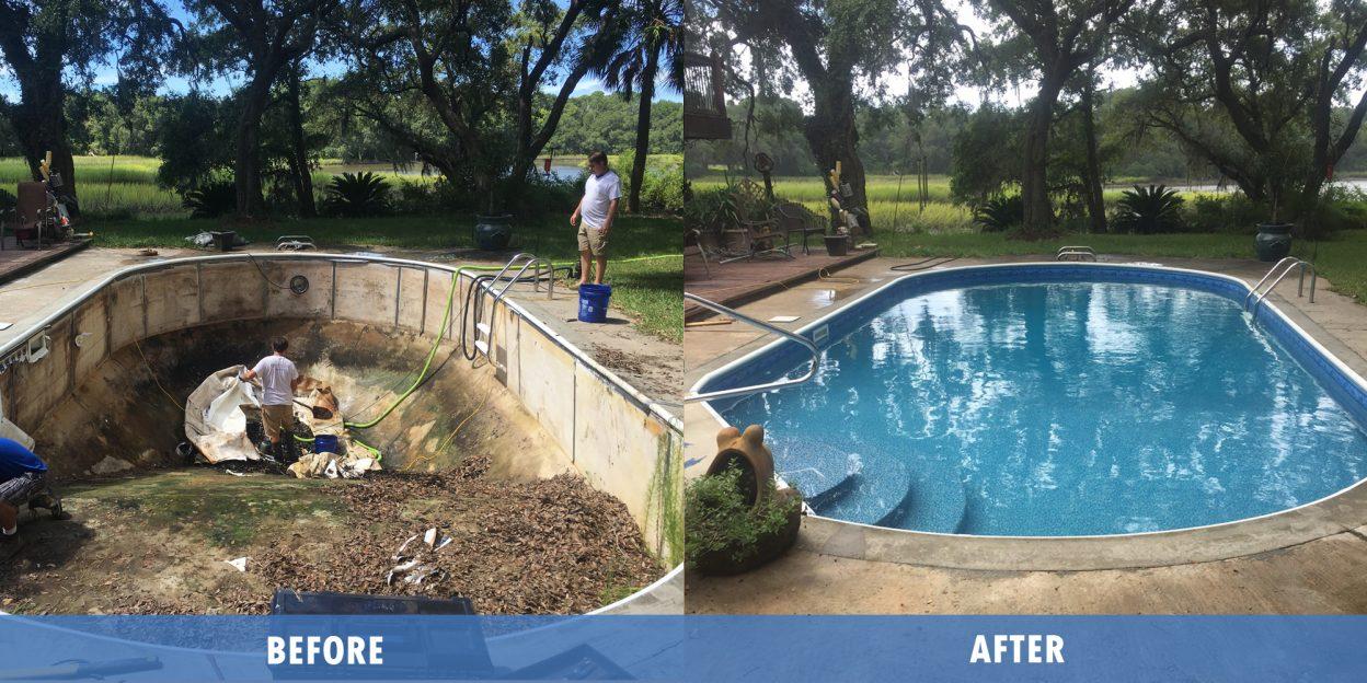 Pool Liner Repair before after @ Maritime pools