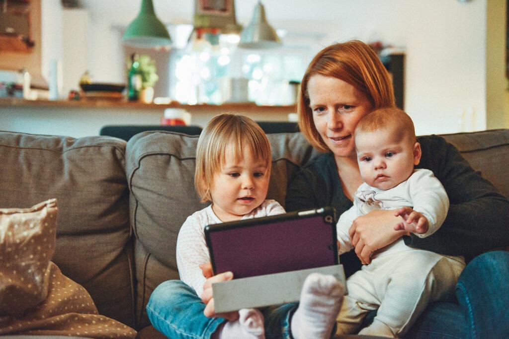 Mom & Young Kids w/ iPad