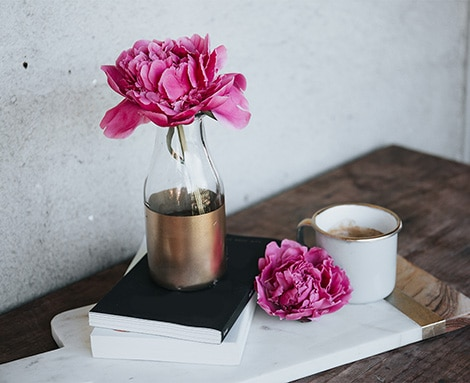 Pink flower, book, coffee relaxing photo