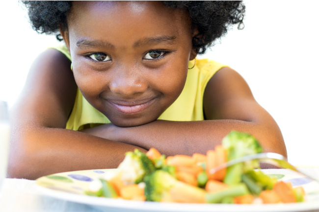 kid eating a balanced diet