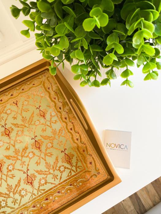 NOVICA Golden Flowers Haind Painted Reverse Glass Tray