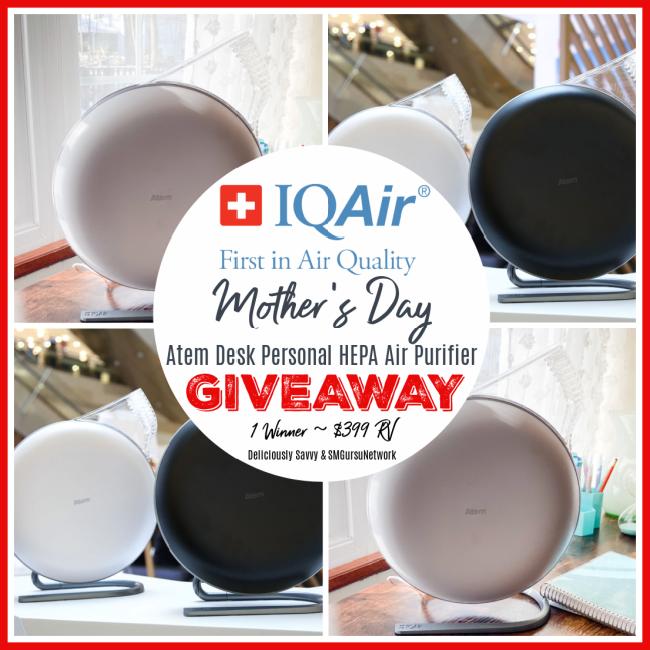 IQAir Atem Desk Personal HEPA Air Purifier Giveaway