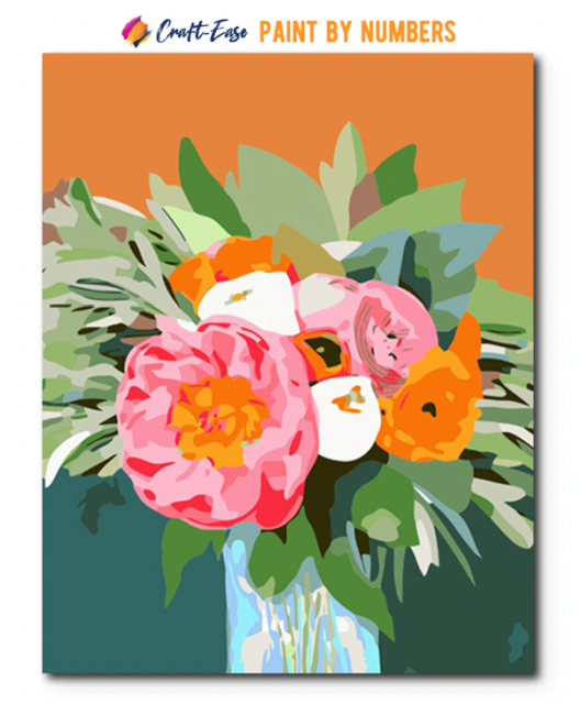 Peonies on Orange by Marla Gill