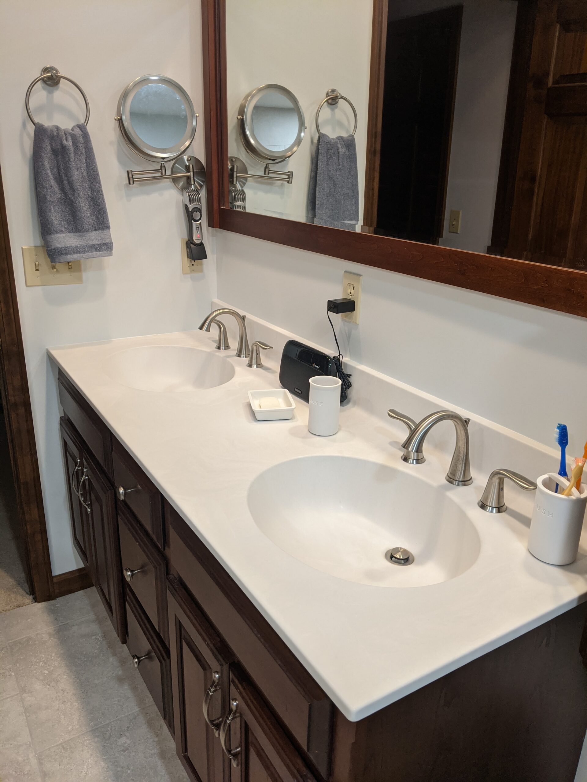"New updated cultured marble double bowl vanity top with 8"" widespread faucets in stainless steel"