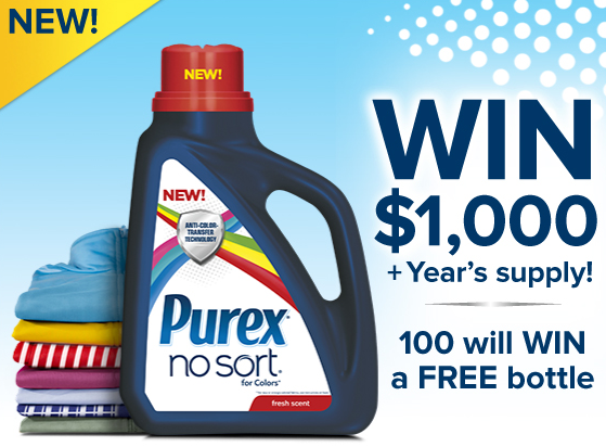 Win a year's worth of Purex No Sort for Colors + $1,000 ~ MommyTalkShow.com