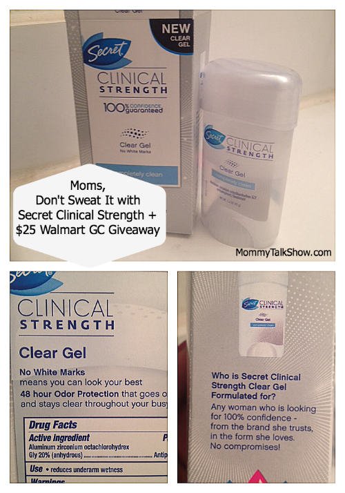 Moms, Don't Sweat It with Secret Clinical Strength + $25 Walmart Gift Card Giveaway ~ MommyTalkShow.com