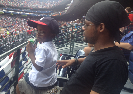 A.J. & Daddy at Braves Game