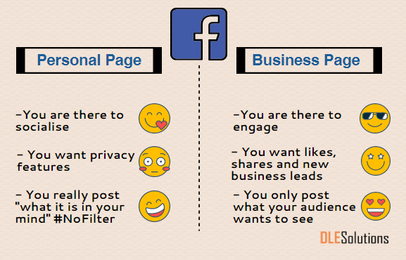 Facebook personal page and a business page