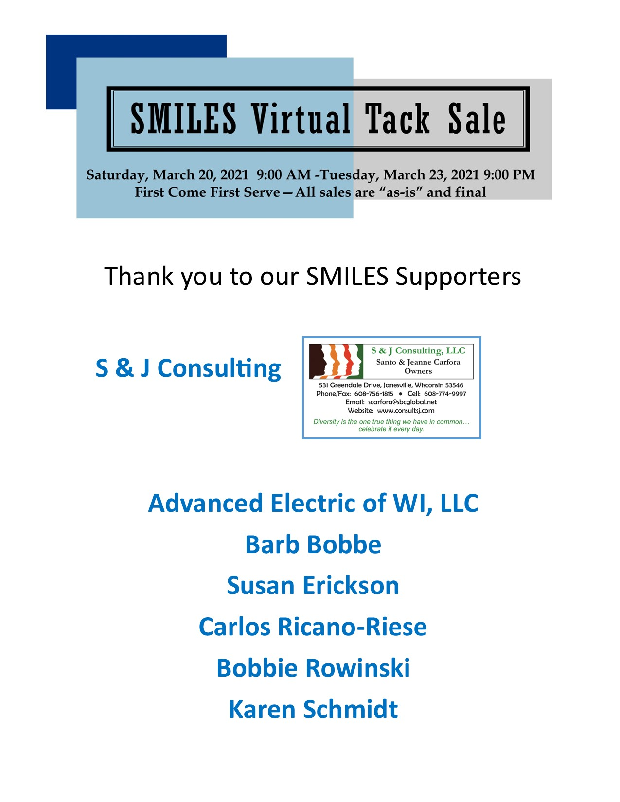 SMILES Supporters (Virtual Vendors)