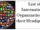List of International Organizations and their Headquarters