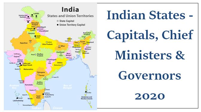 Indian States - Capitals, Chief Ministers & Governors 2020