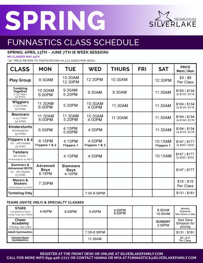 Spring FunNastics 2020 Schedule Front