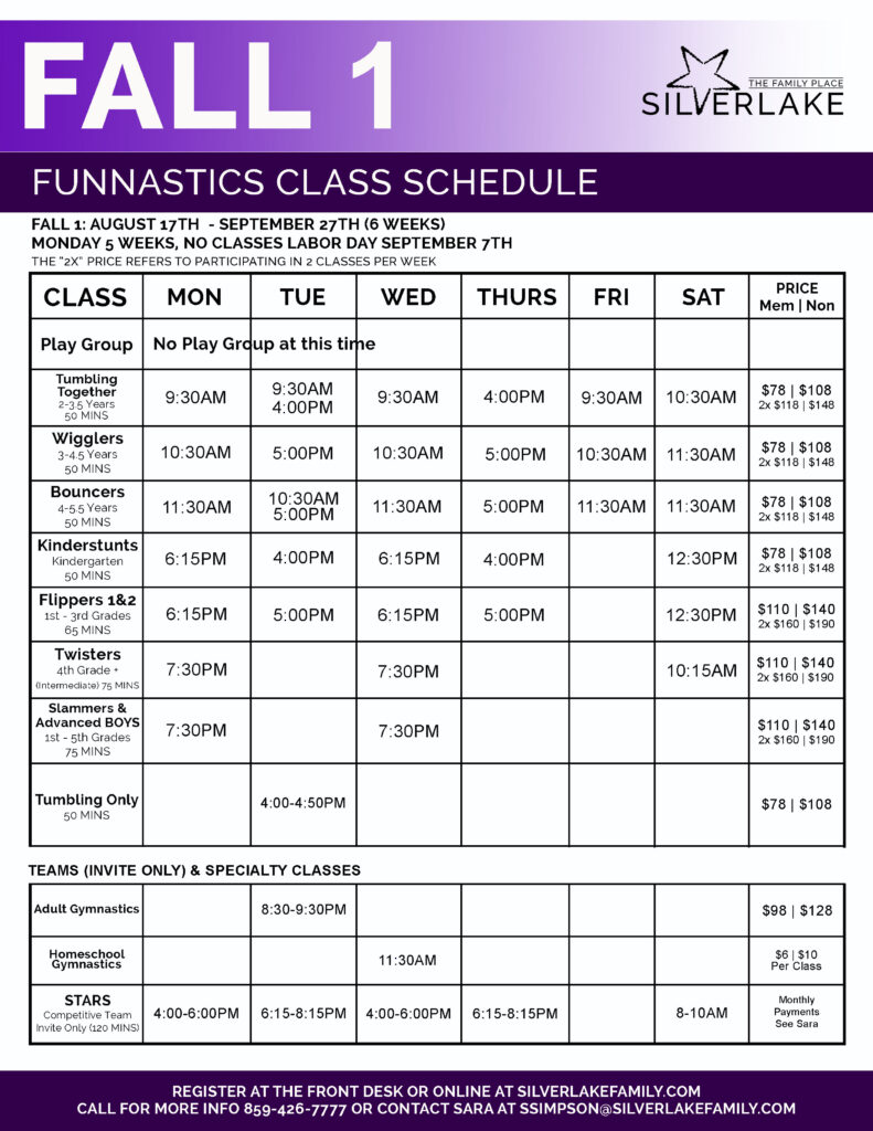 Fall 1 FunNastics 2020 Schedule Front