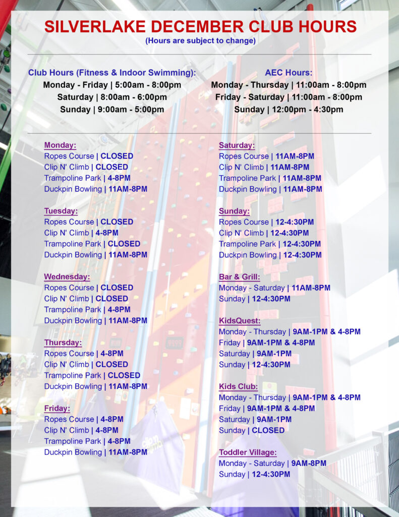 December 2020 Club Hours AEC