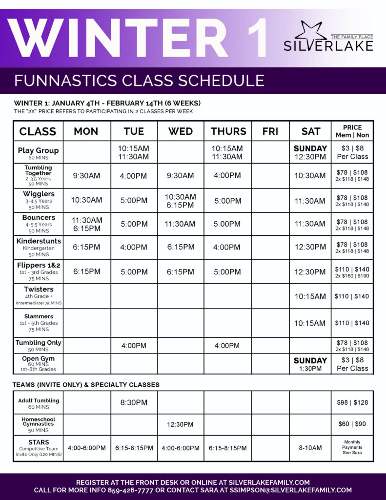 Winter 1 FunNastics 2021 Schedule Front