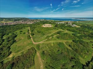 Drone image of Golden Hill Fort
